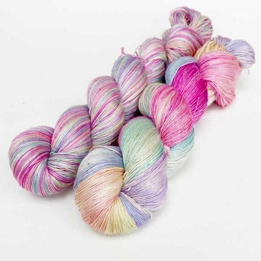 Queen Silk Lace 3ply pure silk yarn for knitting in Unicorn Light - pale multicolours