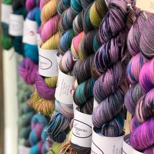 Leggero skeins hanging at fair