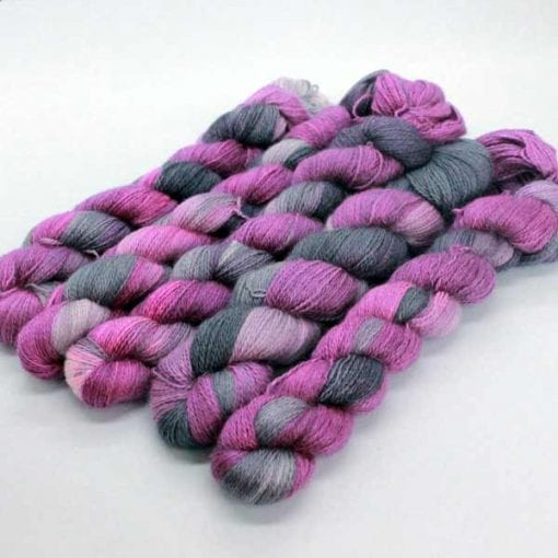 Angelo Lace hand-dyed 2 ply lace Raspberry Liquorice