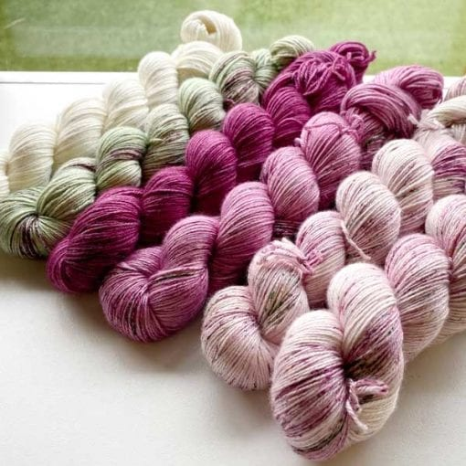 Set of 6 skeins of Mulberino 4ply created to order.