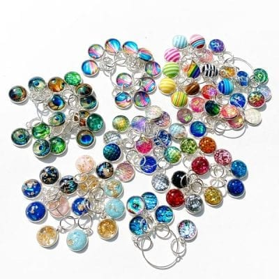 Hand made cabochon stitch markers