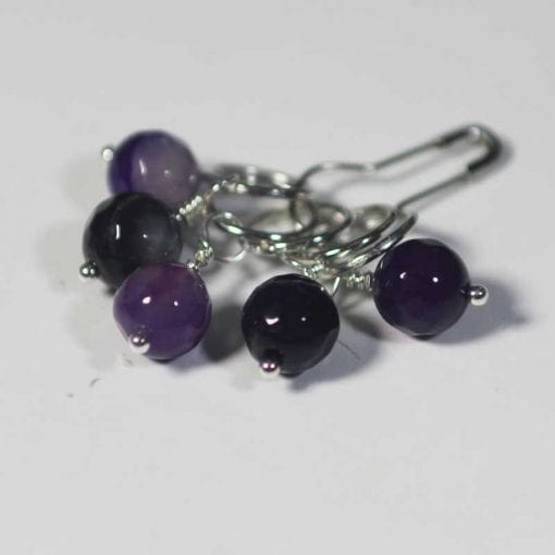 Striped-Agate-Rondelle-Beads Purple